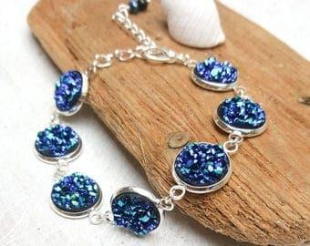 Ocean Inspired Sparkly Blue Druzy Bracelet