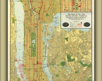 Poster, Many Sizes Available; 1918 Map Of The New York Central Railroad, New York City