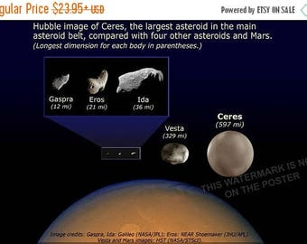 20% Off Sale - Poster, Many Sizes Available; Asteroid Size Comparison