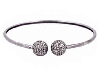 2.85 ct Natural Pave Diamond Bangle, 92.5 Sterling Silver Bangle Jewelry For Women & Girls