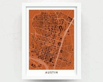 AUSTIN TX Map Print - Home Decor - Office Decor - Austin Artwork - Poster - Wall Art - Texas Longhorns Gift - University of Texas Gift