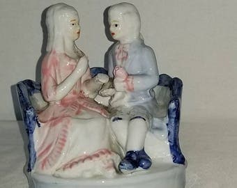 Vintage Victorian Courting Couple Figurine ,Couple on Couch,Made in China,Colonial Couple, Victorian Couple,Porcelain Courting Couple,