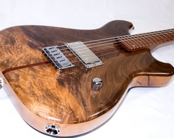 Figured Walnut, Bloodwood, Cherry & Rosewood Electric Guitar with Lollar Humbucker Pickup
