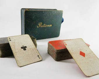 deck of cards, Playing Cards, Vintage Playing Cards, Patience Boxed Cards, Mini Playing Cards, vintage Cards, vintage deck cards, deck cards