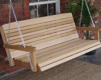 Brand New 7 Foot Cedar Wood Colonial Porch Swing with Heavy Duty Chain and Springs - Free Shipping