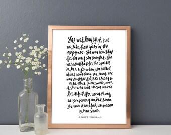 "F. Scott Fitzgerald ""She Was Beautiful"" Print Art, Office Decor, Rustic Home Decor, Wedding Gift, Bedroom Print Art, Quote Print Bedroom Art"