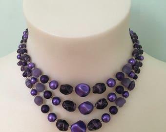 Vintage 1950s Purple Beaded Necklace
