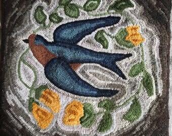 Rug hooking, swallow , primitive rug ,