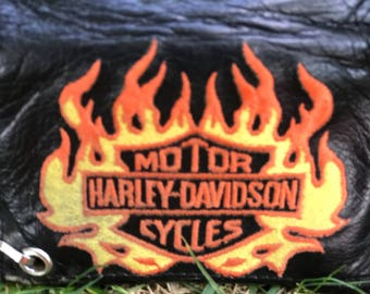 Harley Davidson mens motorcycle trifold wallet with chain vintage