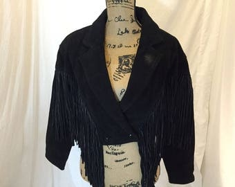 Vintage 80s 90s CHIA Black Fringe Suede Leather Jacket Front Snap Bolero Crop Size S