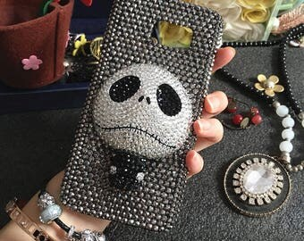 Bling Charms Sparkles Fashion 3D Skull Assorted Gunmetal Black Gems Crystals Rhinestones Diamonds Lovely Hard Cover Case for Mobile Phone