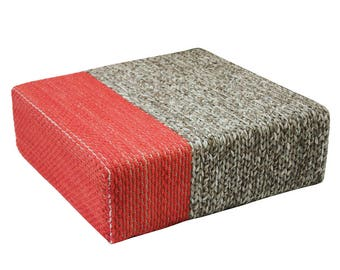 Handmade Wool Braided Square Pouf | Natural/Living Coral | 90x90x30cm | Handwoven Ottoman Floor Cushion