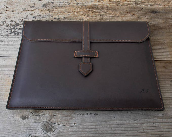 Personalized Italian Leather Portfolio Bag, A4 Documents Bag, Made in Italy