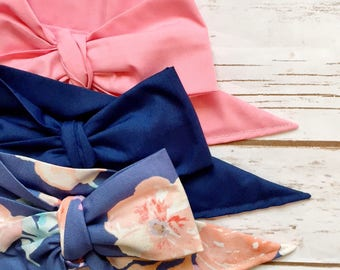 Gorgeous Wrap Trio (3 Gorgeous Wraps)- Dusty Rose, Navy & Royal Blue Floral Gorgeous Wraps; headwraps; fabric head wraps; bows