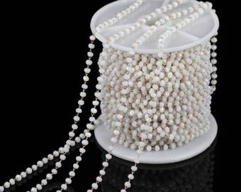 10feet White Glass Beads Rosary Chain,2x3mm Faceted Rondelle Chain,Wire Wrapped Chain- Sales on Foot