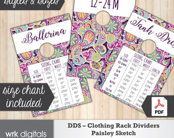Dot Dot Smile Clothing Rack Dividers, Size Chart, Style Cards, Fashion Consultant, Paisley Sketch Design, Direct Sales, INSTANT DOWNLOAD