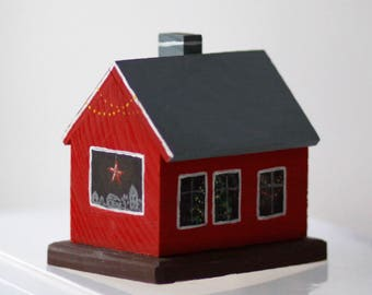 Wooden decorative houses painted with acrylic paints #3