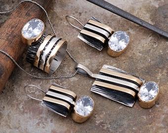 Artisan silver stripe set