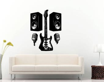 Rock And Roll Skull Wings Electric Guitar Music Speakers Instrument Wall Sticker Decal Vinyl Mural Decor Art L2295