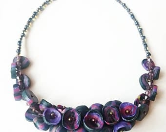 Purple polymer clay necklace exclusive handmade jewelry purple blue unique black gift for her for Mom big beads boho beadwork beaded navy