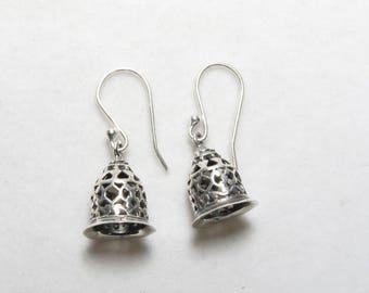 92.5 Sterling Silver  -  Bells Design - Silver Earrings
