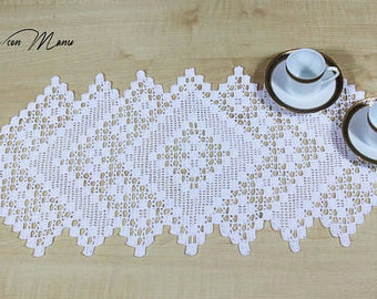 White crochet centerpiece, rectangular crochet doily, white lace doily, home decor, table runner, wedding centerpieces