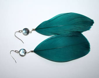 Blue Swarovski Crystal and feather earrings