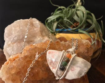 Natural Stone Wire Wrapped Pendent