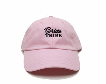 6 Bride Tribe Hats, 6 Bride Tribe Baseball Caps, Bachelorette Party Hats, Bridesmaid Hats, Embroidered Baseball Caps, Pink
