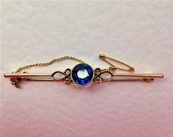 Antique Victorian Bar Brooch, 9ct Gold Brooch, Kyanite Gem