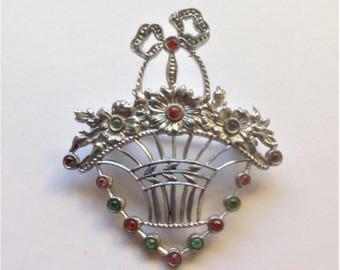 Vintage Flower Basket Brooch, Silver Tone Brooch, Paste Gem Brooch, Circa 1930