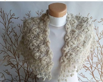 ON SALE FREE Shipping Bridal Shawl Wedding Shawl Bridal Shrug Bridal Bolero Crochet lace Shawl Cover Up Queen gift Neckwarmer scarf Mother d