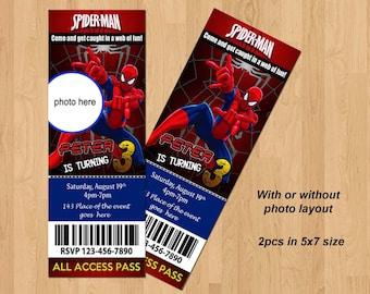 Spiderman Invitation. Spiderman Birthday Invitation. Spider man Birthday. Spider man Invitation. Ticket Style Invites. Digital (you print)