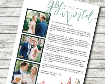 Christmas Newsletter Template / Year In Review / Digital Download - NO PHOTOSHOP NEEDED / Family Photo Christmas Card