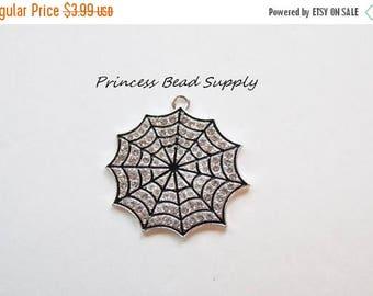SALE Spider Web Rhinestone pendant for Chunky Necklaces, Halloween Spider Web Pendant,  37mm Pendant, Chunky Necklace Pendant