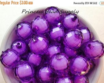 SALE 20mm Purple Transparent Round Bead in Bead Chunky Beads Set of 10, Purple Bubble Gum Beads, Gumball Beads, Acrylic Beads