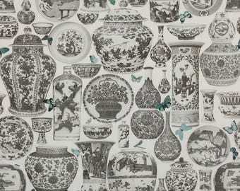 MANUEL CANOVAS CHINOISERIE Jardin Bleu Toile Fabric 10 Yards Sepia Brown Aqua