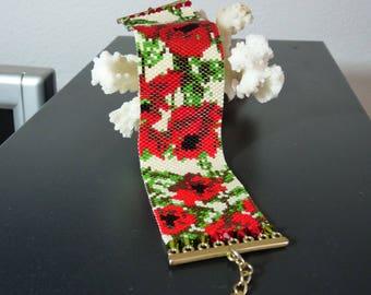 Peyote Stitch Bracelet, Seed Bead Bracelet, Beaded Bracelet,  Flower Bracelet Cuff Bracelet Red Poppies