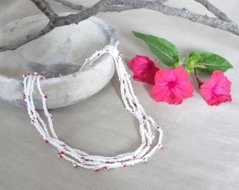 Long crochet necklace or bracelet, linen beaded  necklace, bohemian jewelry, boho necklace