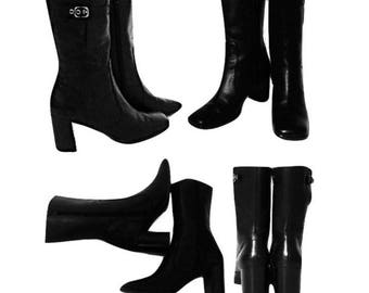 Women's boots, ankle boots, black boots, leather boots, high heel boots, women's black boots, black ankle boots, heel boots, boots | 7 M