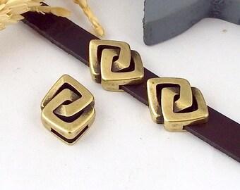 3 leather square Greek bronze zamak leather 10mm