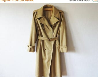 ON SALE Vintage Women's Trench Coat Beige Khaki Brown Classic Trenchcoat With Belt Light Brown Detective Overcoat Raincoat Preppy Size Large