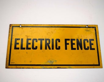 Yellow Metal Electric Fence Sign