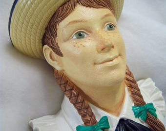 Anne of Green Gables,plaster plaque,1990,Legend Products,made in England,straw hat,braids,freckles,green eyes,child's room,nursery decor