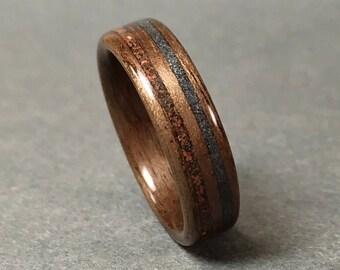 Dinosaur Fossil, Meteorite Dust Inlay, Walnut Bentwood Ring, Wood Ring  Woman, Wood