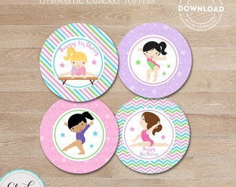 50% OFF SALE Gymnastic Cupcake Toppers, Gymnastic Party Printable, Gymnastic Stickers, Gymnastic favors DIY, Party Decorations Instant Downl