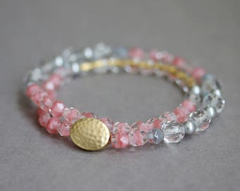 Pink, Gold, Gray Czech Glasses and Swarovski Pearls Beaded Bracelet, Double Wrap Strand, Beadwork Bracelet