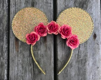 Gold glitter disney ears with flowers