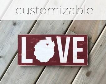 LOVE with Adirondack Park silhouette - Adirondack Decor - Cabin Decor - Mountain Decor - Lake Decor - Custom Location - Wood Sign