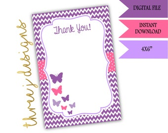Butterfly Baby Shower Thank You Card - INSTANT DOWNLOAD - Purple and Pink - Digital File - J002